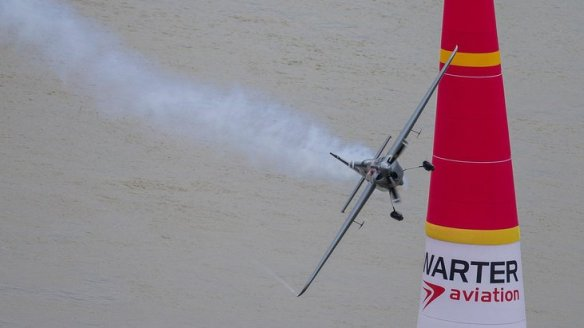 Hannes Arch of Austria performs during the fourth stage of the Red Bull Air Race World Championship in Budapest, Hungary on July 17, 2016.